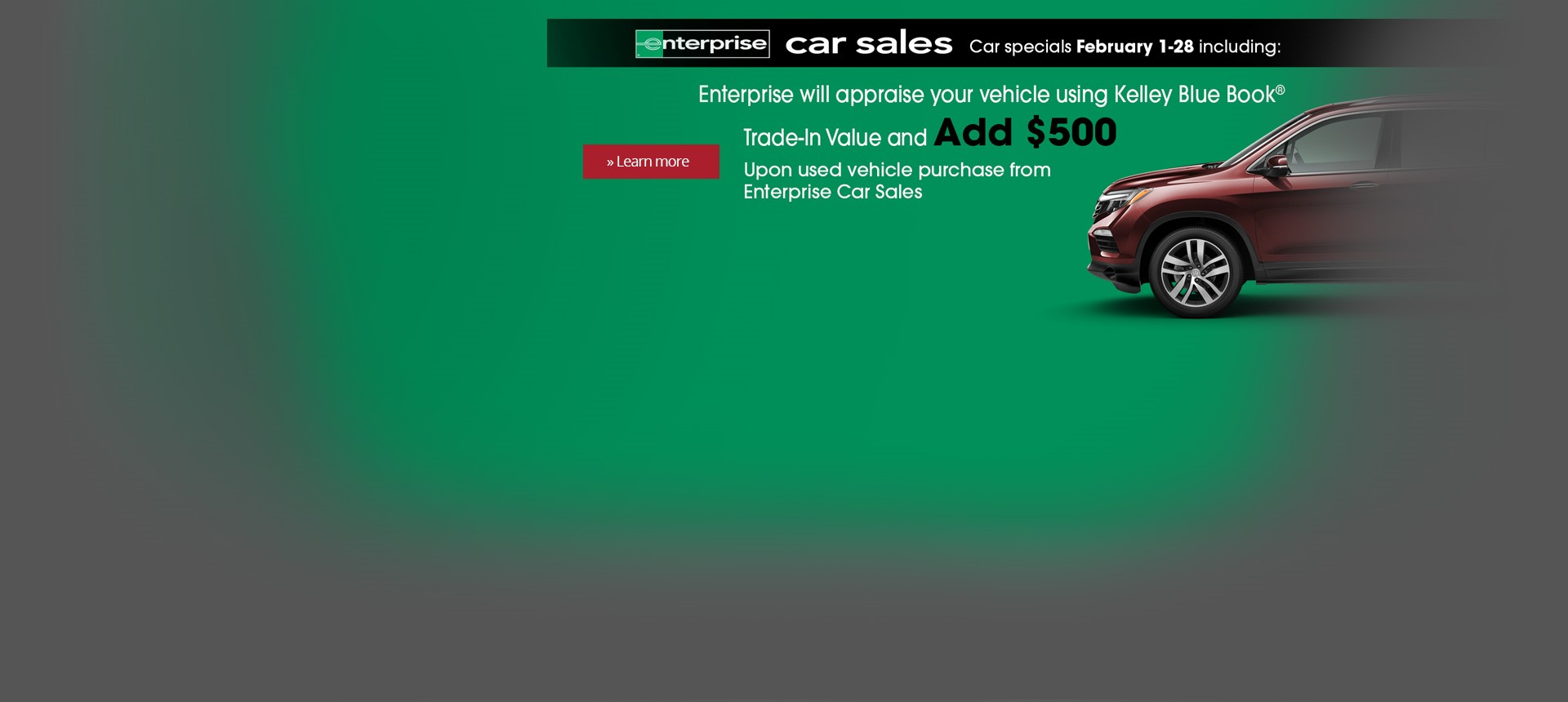 Enterprise Car Sales Feb. 2018 $500 Kelley Blue Book Offer on Enterprise Used Cars